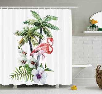 Watercolor Art Trees Shower Curtain