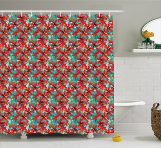 Red Hibiscus Flowers Shower Curtain