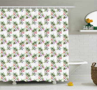 Watercolor Birds Flora Shower Curtain