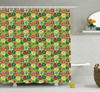 Whimsical Floral Art Shower Curtain