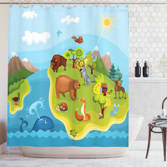 Happy Planet Mountains Shower Curtain