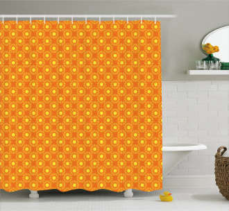 Warm Colored Sun Motif Shower Curtain