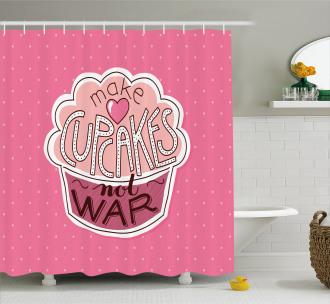 Make Cupcakes Dots Shower Curtain