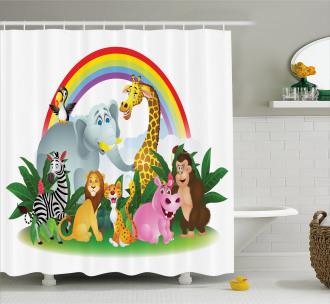 Animals Under Rainbow Shower Curtain