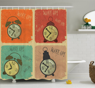 Grunge Wake Up Alarm Shower Curtain