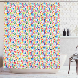 Tulips Roses and Pansies Shower Curtain