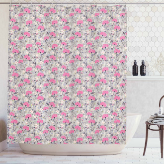 Repeating Dandelions Shower Curtain