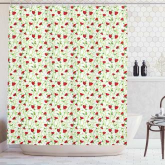 Twiggy Poppy Flowers Shower Curtain