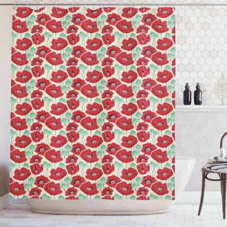 Watercolor Effect Poppy Shower Curtain