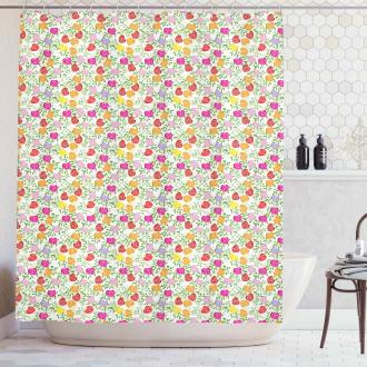 Heart Shape Rose Petals Shower Curtain