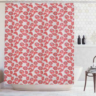 Poppy Petals Polka Dots Shower Curtain