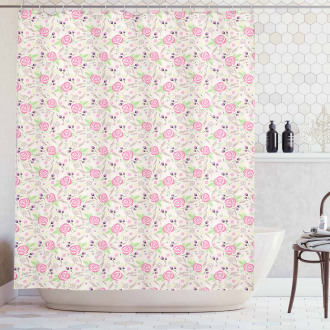 Silhouette Rose Buds Shower Curtain