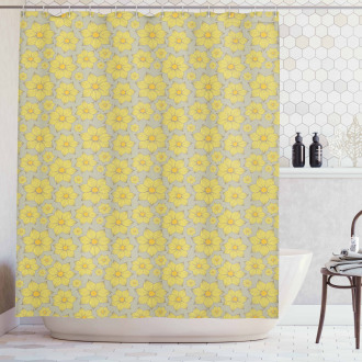 Doodle Yellow Petals Shower Curtain