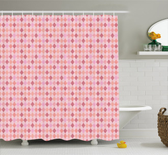 Pink Diamond Shape Shower Curtain