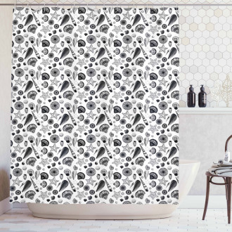 Black and White Clams Shower Curtain