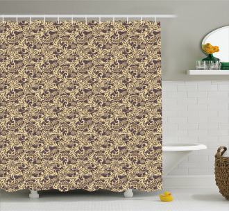 Arabic Traditional Floral Shower Curtain