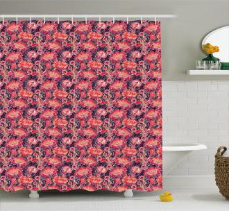 Asian Oriental Flowers Shower Curtain