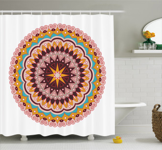 Ethnic Floral Motif Shower Curtain