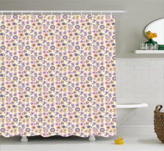 Graphic Tulip and Daisy Shower Curtain