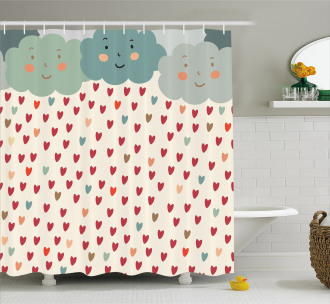 Hearts Raindrops Clouds Shower Curtain