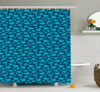 Clouds and Snowflakes Shower Curtain
