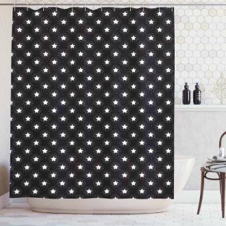 Grungy Stars Rays Theme Shower Curtain