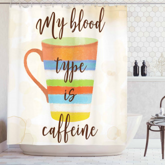 Caffeine Quote Retro Mug Shower Curtain
