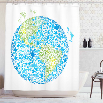 Planet Ecology Theme Shower Curtain