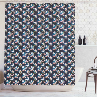 Cranes and Pinky Magnolia Shower Curtain