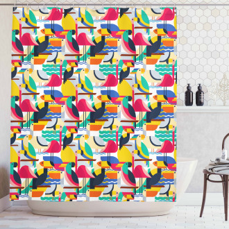 Toucan and Flamingos Shower Curtain