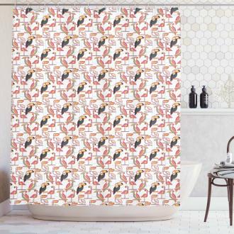 Minimalist Exotic Parrots Shower Curtain