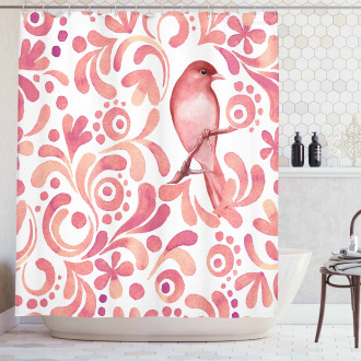 Salmon Colored Pattern Shower Curtain