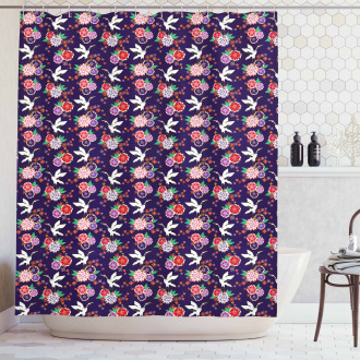 Flying Crane and Flowers Shower Curtain