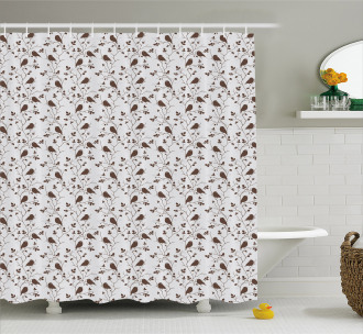 Tweeting Little Sparrows Shower Curtain