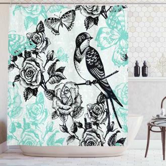 Mockingbird on Rose Tree Shower Curtain