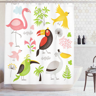 Flamingo and Pelican Shower Curtain