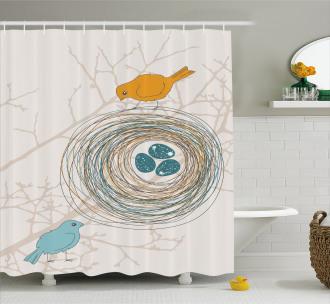 Blue Eggs in Birds Nest Shower Curtain