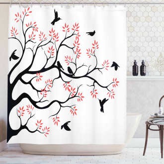 Mockingbird on Plane Tree Shower Curtain