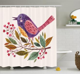 Scarlet Firethorn Flower Shower Curtain