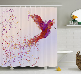 Curly Feather Hummingbird Shower Curtain