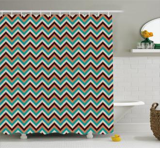 Retro Color Zigzag Line Shower Curtain