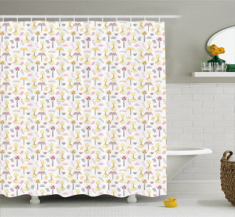 Young Giraffes Palm Trees Shower Curtain