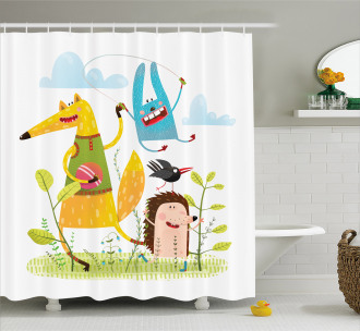 Playing Animals in Garden Shower Curtain