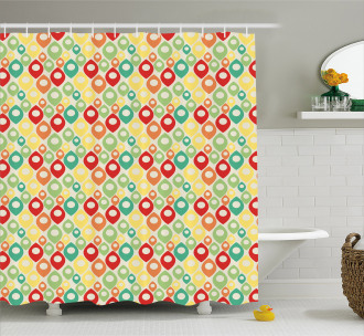 Colorful Shapes Print Shower Curtain
