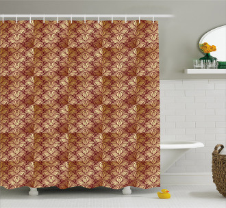 Stylized Curvy Leaves Shower Curtain