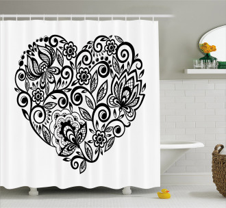 Silhouette Floral Lace Shower Curtain