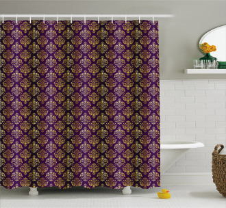 Oriental Leaf Dot Shower Curtain