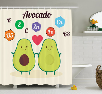 Funny Food Vitamins Shower Curtain