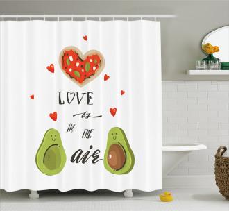 Valentine Fruit Couple Shower Curtain