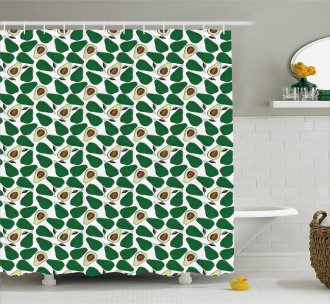 Doodle Avocado Slices Shower Curtain